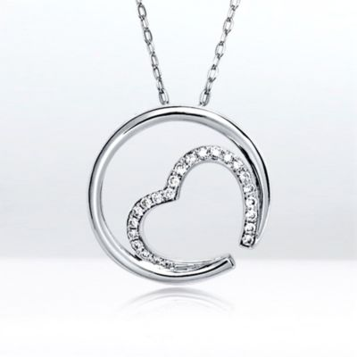 Diamond Embraced Heart pendant, 18k white gold